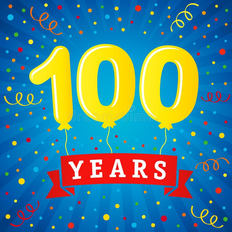 100 years anniversary celebration with colored balloons & confetti royalty free illustration