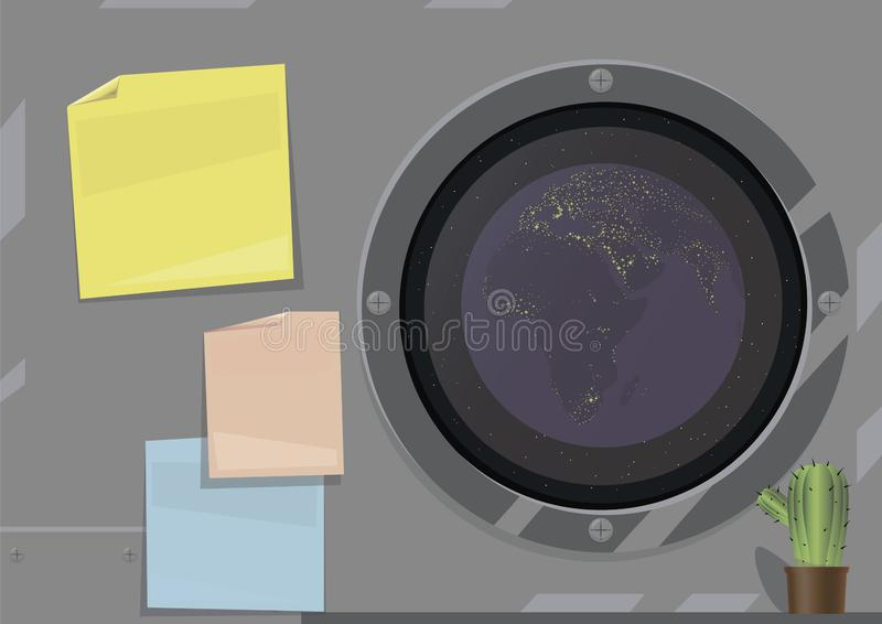 Vector illustration of a desktop on a spaceship, gray metal wall with multi-colored stickers, the image of the planet Earth in a. Dark window, a cactus in the stock illustration