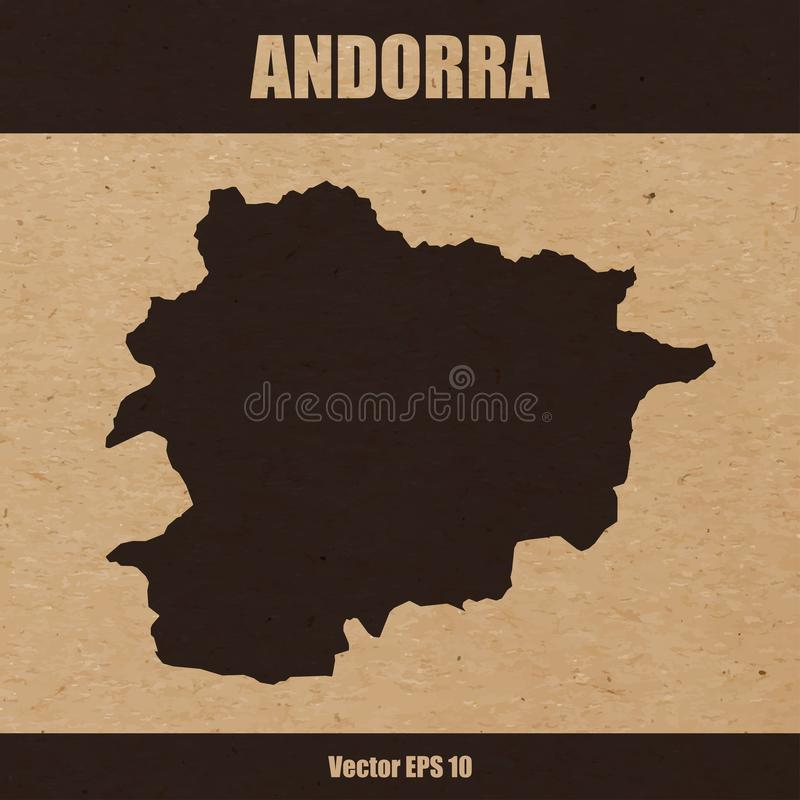 Detailed map of Andorra on craft paper background. Vector illustration of detailed map of Andorra on craft paper or cardboard background royalty free illustration