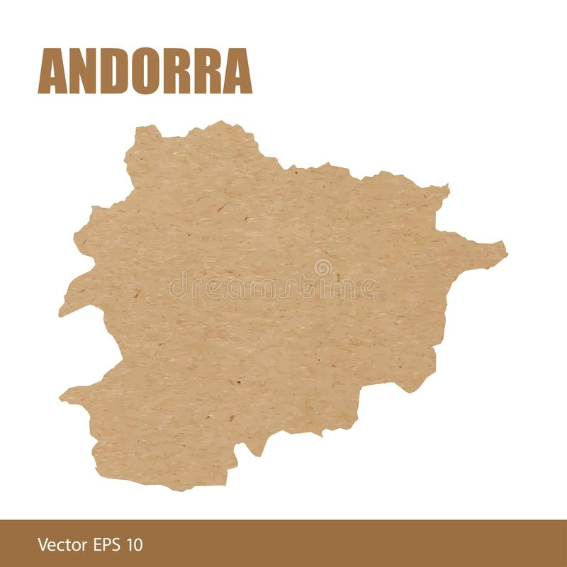 Detailed map of Andorra cut out of craft paper. Vector illustration of detailed map of Andorra cut out of craft paper or cardboard stock illustration