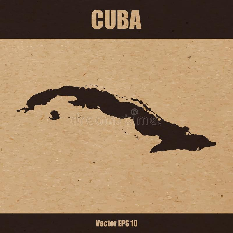 Detailed map of Cuba on craft paper. Vector illustration of detailed map of Cuba on craft paper or cardboard royalty free illustration