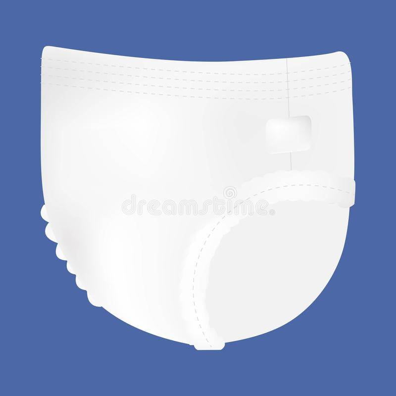 Baby absorbent diaper. Vector illustration for diapers packs, and other babies production vector illustration