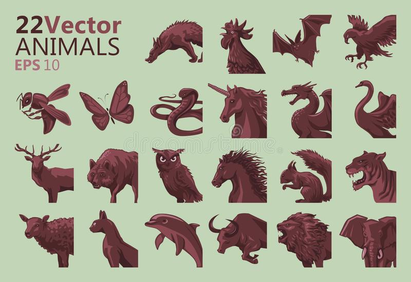 Animal icons royalty free illustration
