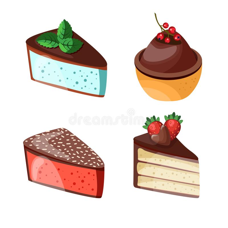 Set of colorful desserts with forest fruits. Chocolate cakes with different fillings. Vector illustration. Vector illustration of different cakes. Set of stock illustration