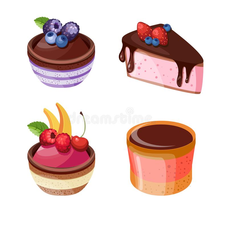 Set of colorful desserts with forest fruits. Vector illustration of different cakes. Set of colorful desserts with fruits. Cakes with different fillings royalty free illustration