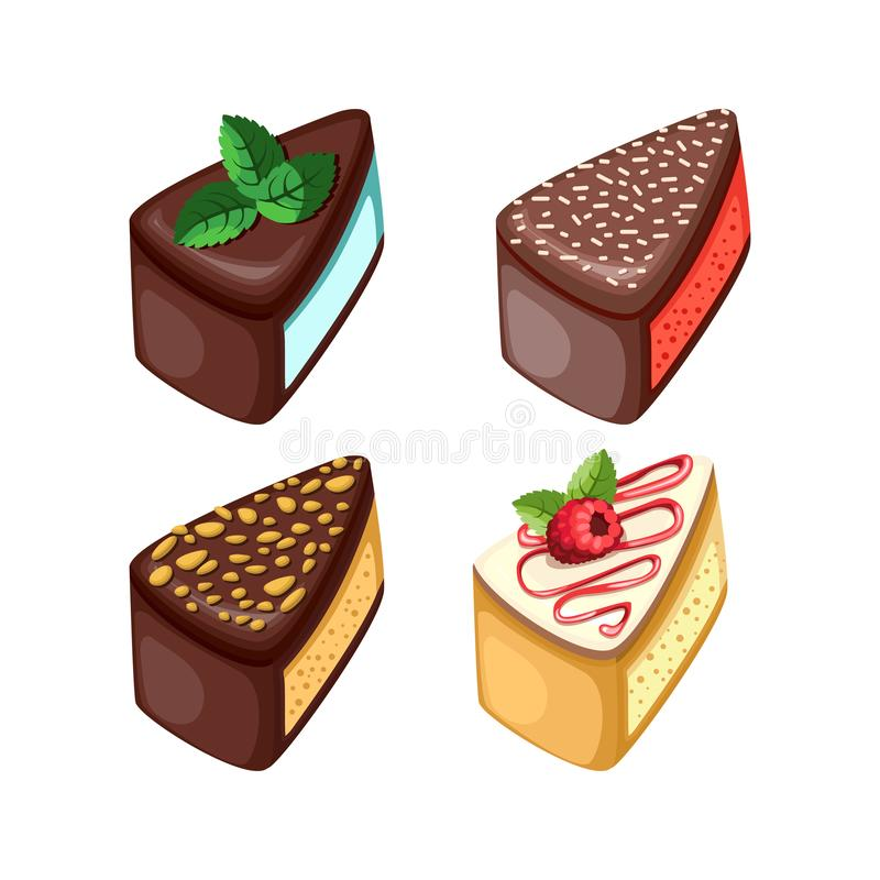 Set of colorful desserts with forest fruits. Chocolate cakes with different fillings. Vector illustration. Vector illustration of different cakes. Set of vector illustration