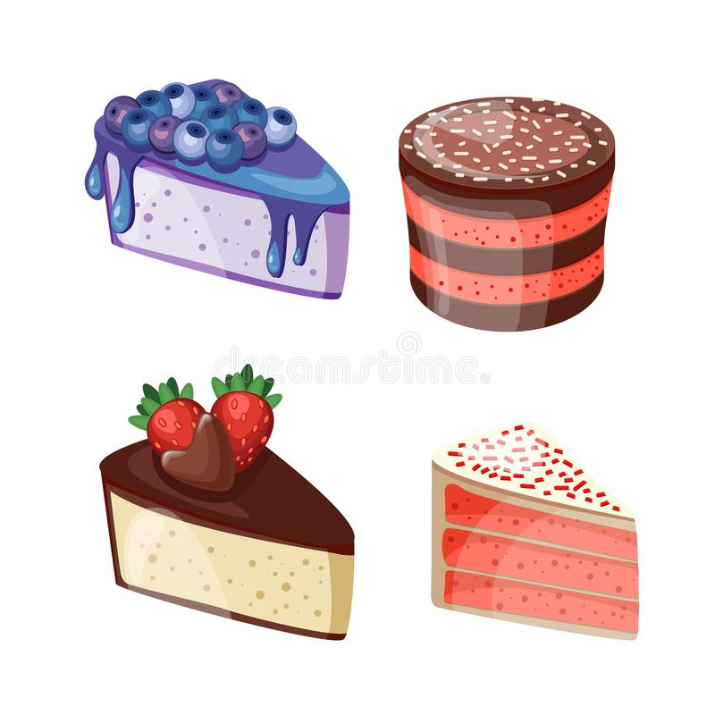 Set of colorful desserts with forest fruits. Chocolate cakes with different fillings. Vector illustration. Vector illustration of different cakes. Set of royalty free illustration