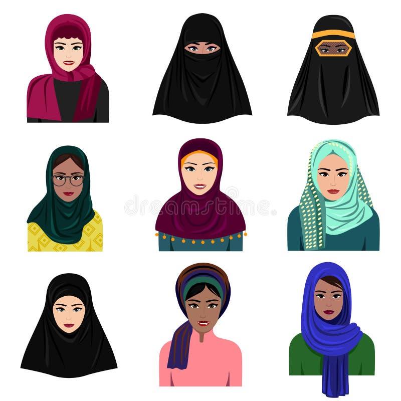 Vector illustration of different muslim arab women characters in hijab icons set. Islamic saudi arabic ethnic women in stock illustration