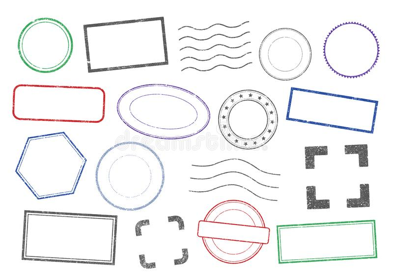 Vector isolated Stamps frames 2 stock illustration