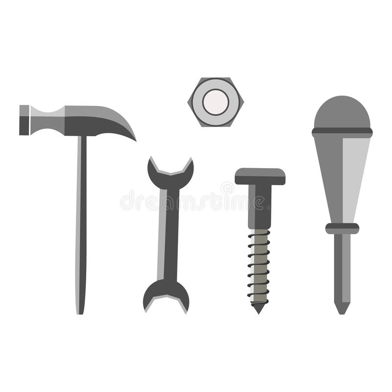 Vector illustration of different tools. Screw, nut, hammer, wrench and screwdriver, isolated on the white background stock illustration