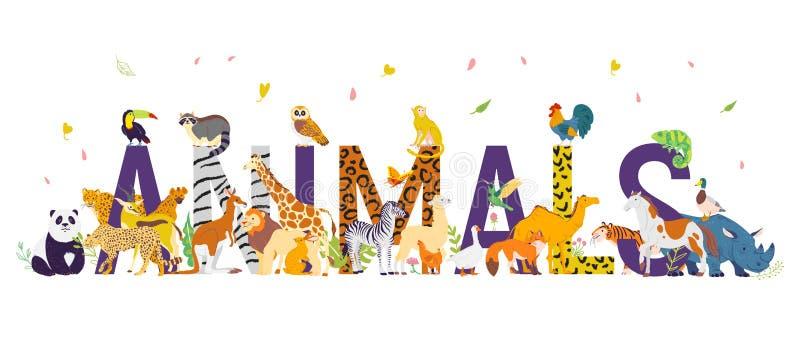 Vector illustration with different world wild animals, ungulata and birds. H royalty free illustration