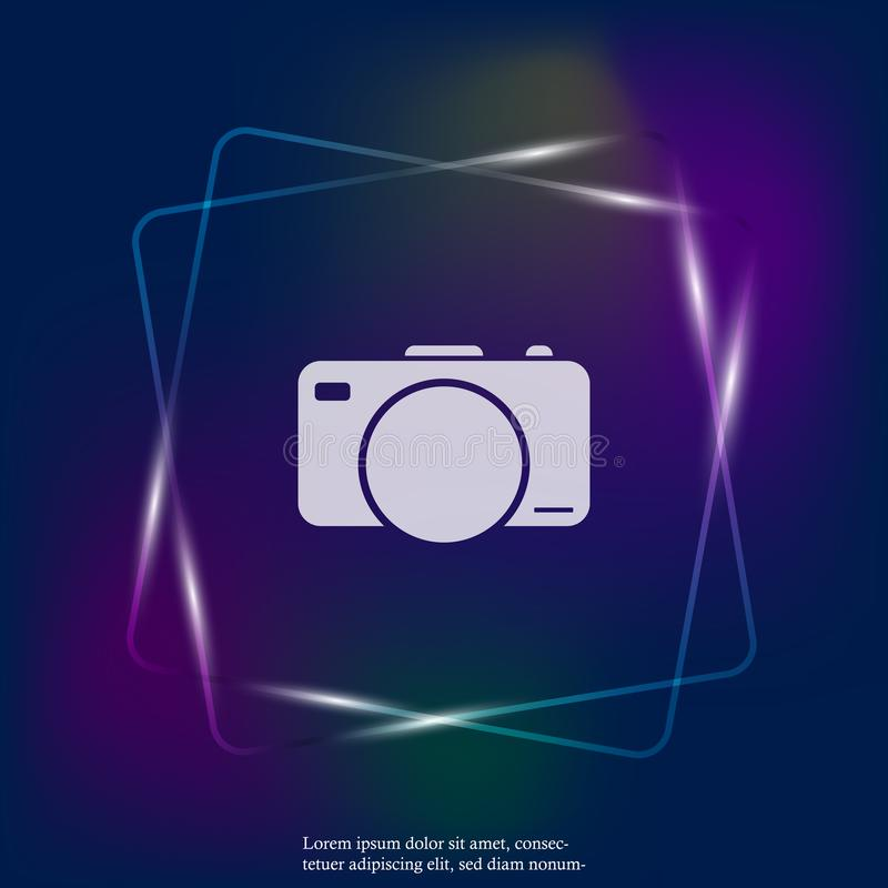 Vector illustration of a digital camera. Retro camera neon light. Icon. Layers grouped for easy editing illustration. For your design royalty free illustration