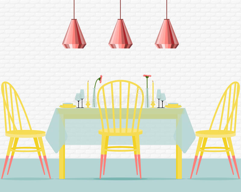 Download Vector Illustration With Dining Room In Flat Style. Stock Vector    Illustration Of Illuminator