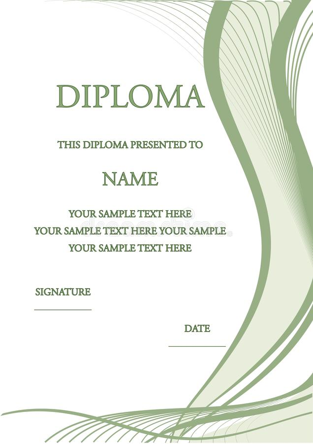 Vector illustration of diploma certificate royalty free stock image