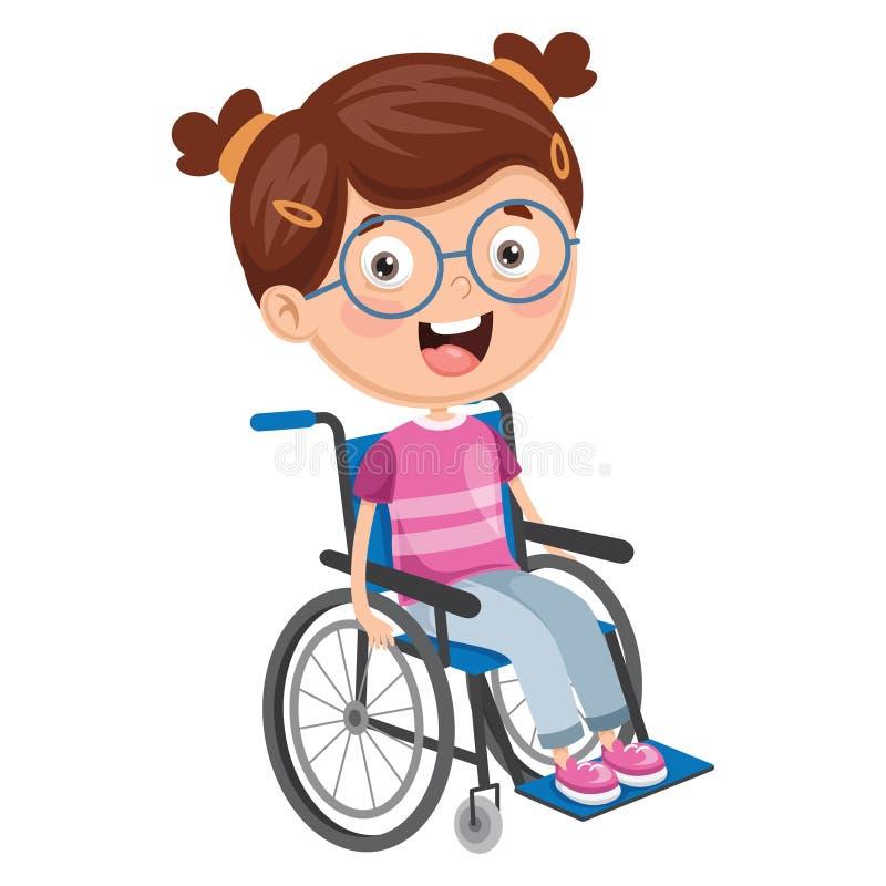 Vector Illustration Of Disabled Kid. Eps 10 royalty free illustration