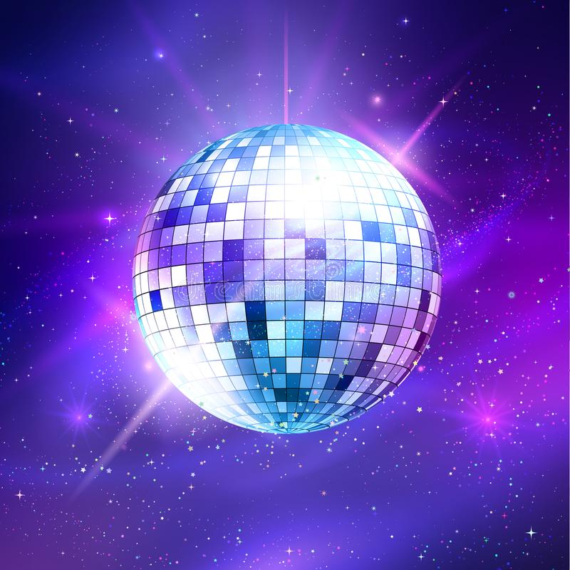 Disco ball on ultraviolet outer space background royalty free illustration