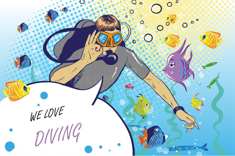 Vector illustration of diver showing ok hand sign. Swimming underwater with funny fishes man in scuba diving equipment. Vector illustration of diver showing ok royalty free illustration