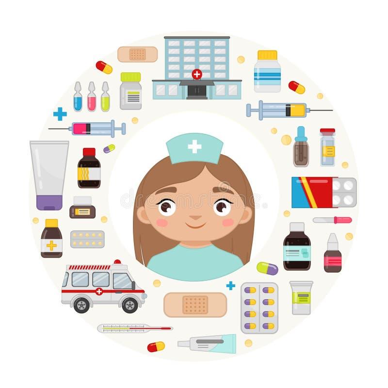 Vector illustration of a doctor. Vector illustration of an doctor. Cartoon set of medicines, ambulance and hospital stock illustration
