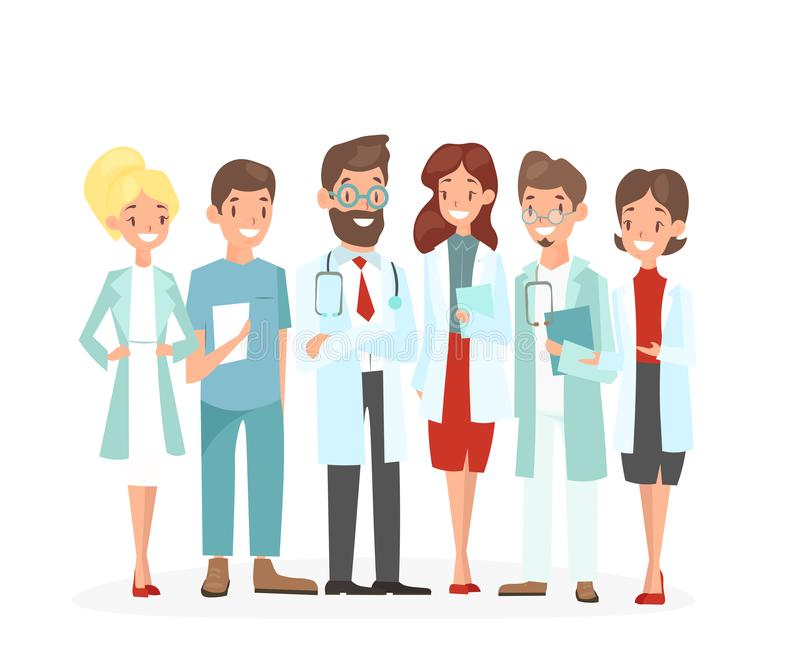 Vector illustration of doctors team. Hospital medical staff team of man and woman doctors nurses surgeon, happy and cute. Doctors isolated on white background stock illustration