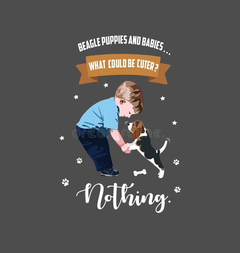 Vector illustration of a dog with a child.Beagle puppy. Beagle puppies and baies...What could be cuter?Nothing.Banner with pets vector illustration