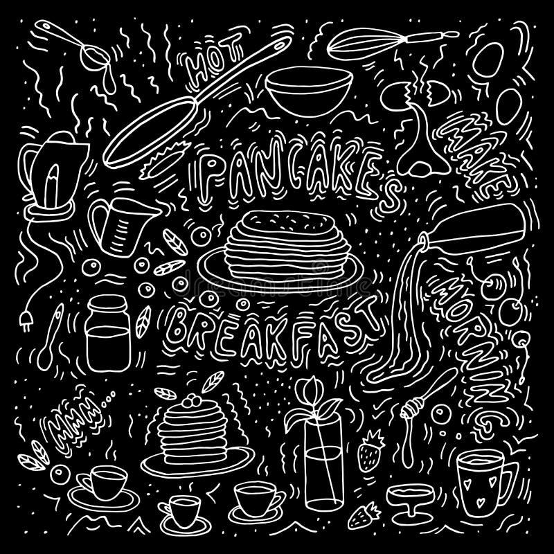 Pancakes maker. Morning meal. Vector illustration. Doodle sketch. Pancakes maker. Morning meal royalty free illustration