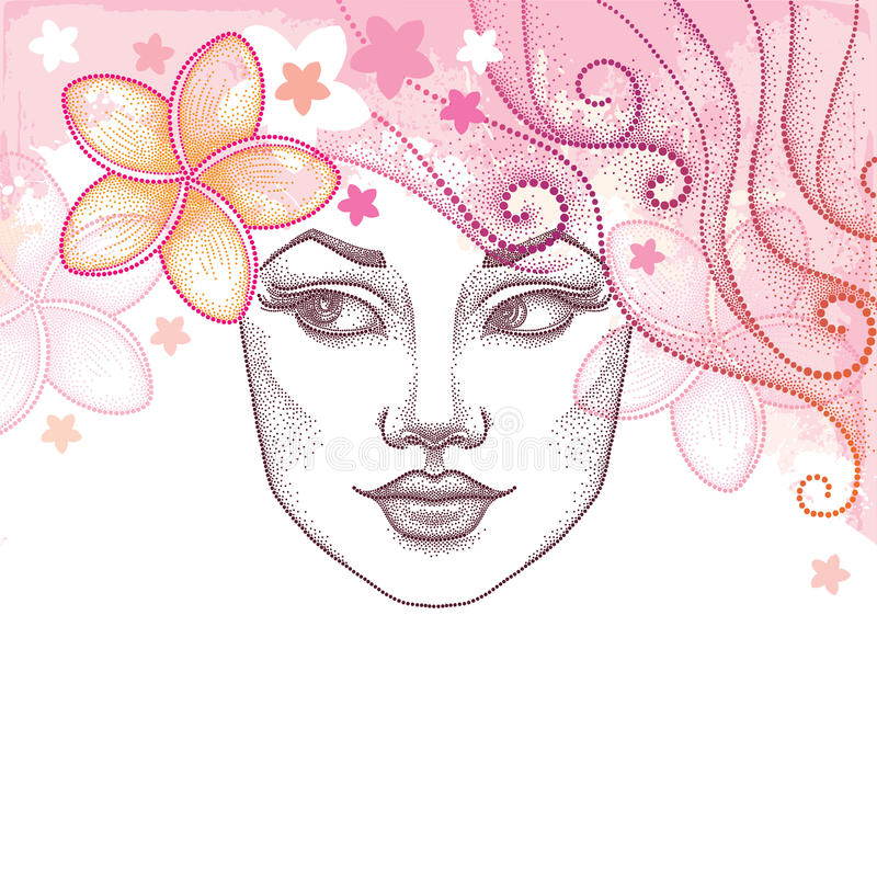 Vector illustration of dotted beautiful girl face with Plumeria or Frangipani flower in hair. Summer background in dotwork style. vector illustration