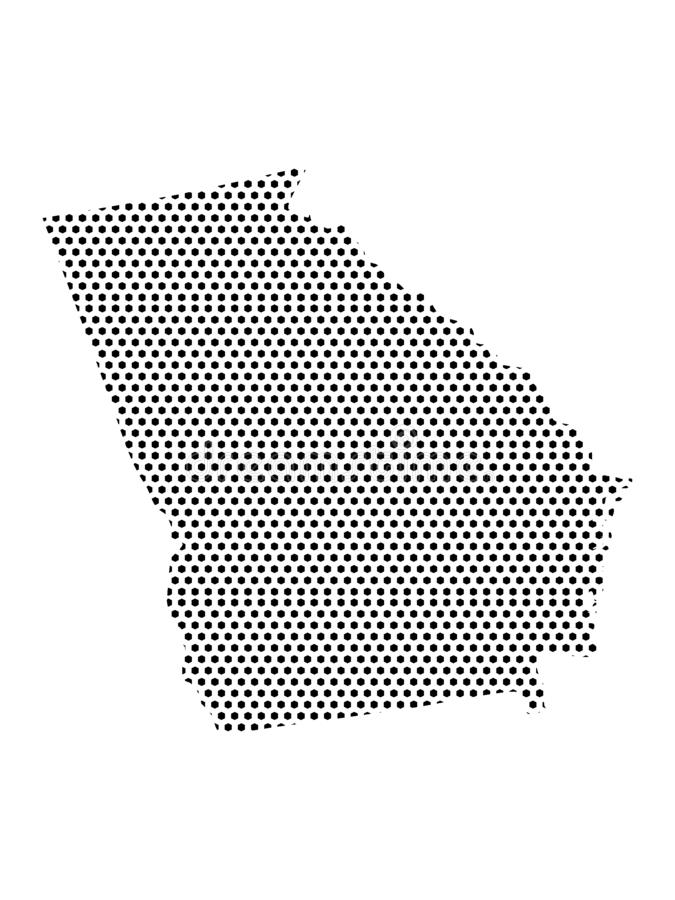 Dotted Pattern Map of US State of Georgia. Vector illustration of the Dotted Pattern Map of US State of Georgia stock illustration