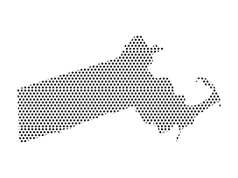 Dotted Pattern Map of US State of Massachusetts. Vector illustration of the Dotted Pattern Map of US State of Massachusetts stock illustration