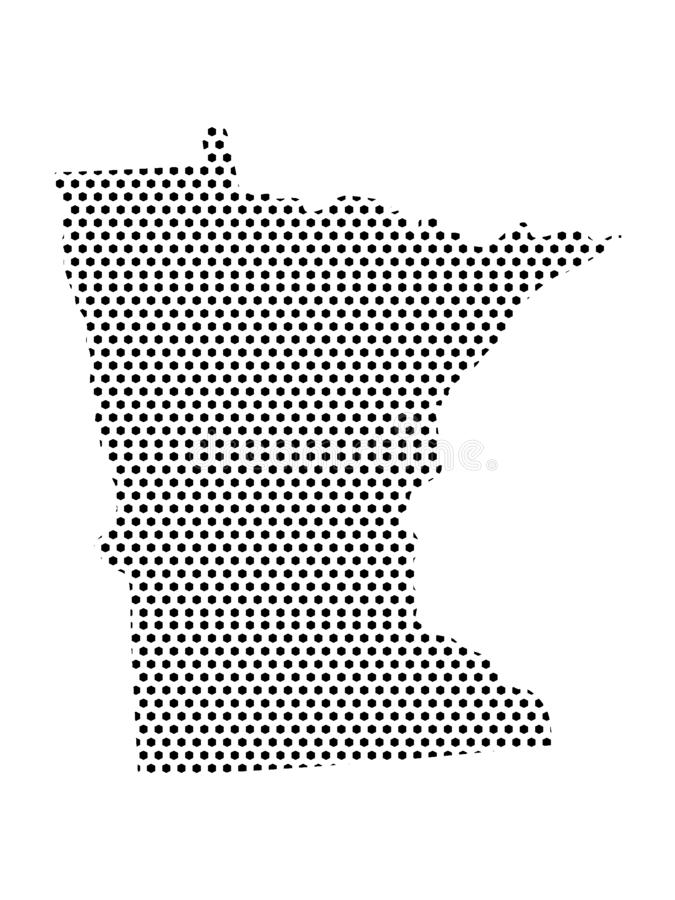 Dotted Pattern Map of US State of Minnesota. Vector illustration of the Dotted Pattern Map of US State of Minnesota stock illustration