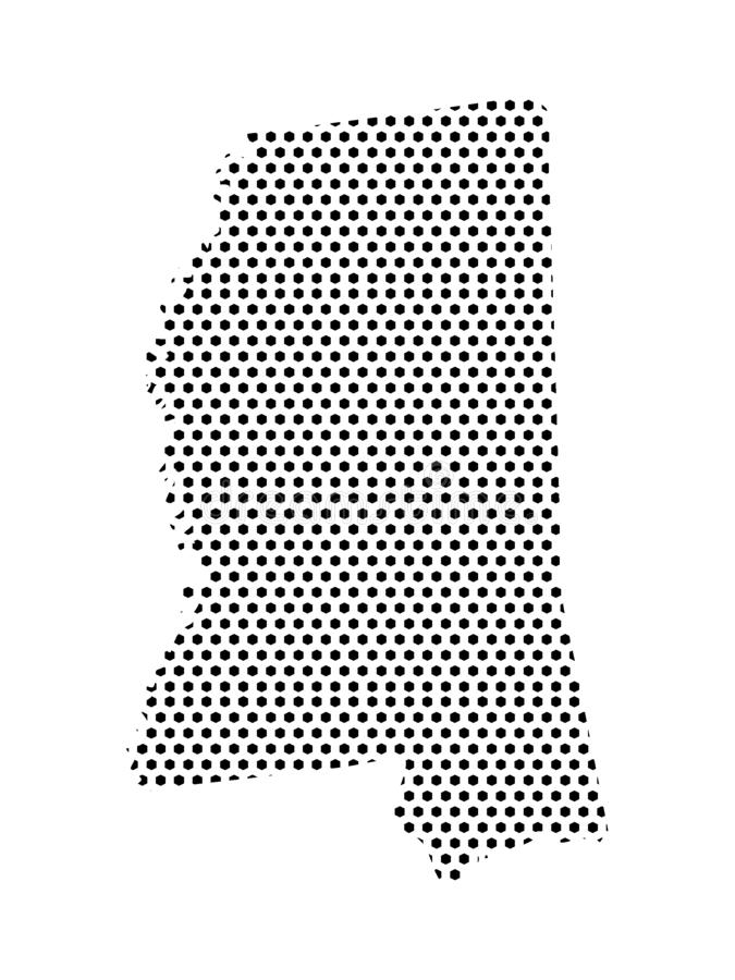 Dotted Pattern Map of US State of Mississippi. Vector illustration of the Dotted Pattern Map of US State of Mississippi royalty free illustration