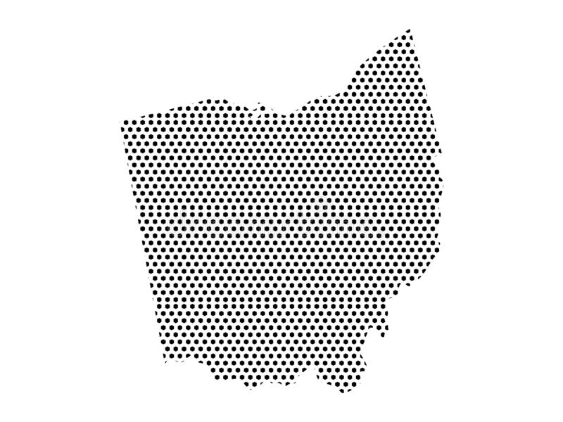 Dotted Pattern Map of US State of Ohio. Vector illustration of the Dotted Pattern Map of US State of Ohio stock illustration