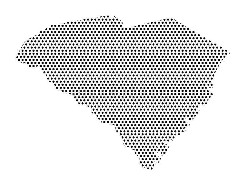 Dotted Pattern Map of US State of South Carolina. Vector illustration of the Dotted Pattern Map of US State of South Carolina stock illustration