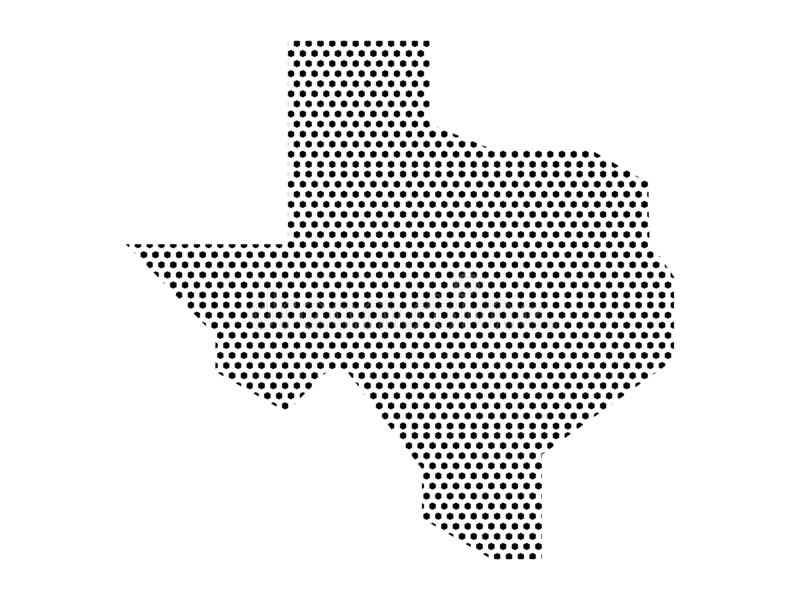 Dotted Pattern Map of US State of Texas. Vector illustration of the Dotted Pattern Map of US State of Texas stock illustration