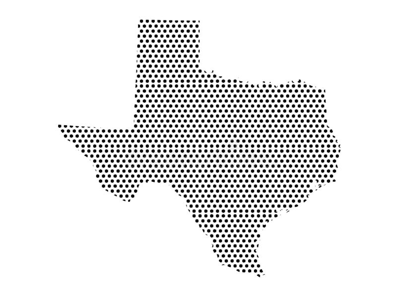 Dotted Pattern Map of US State of Texas. Vector illustration of the Dotted Pattern Map of US State of Texas vector illustration