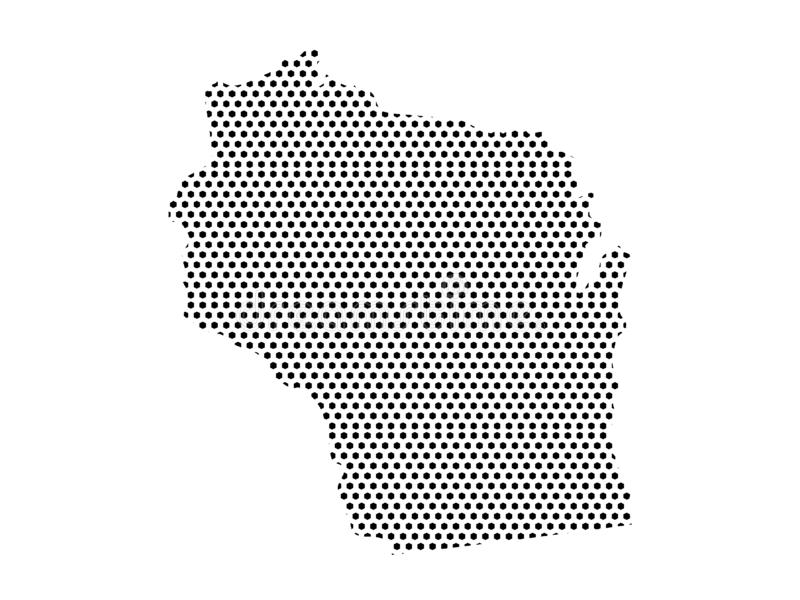 Dotted Pattern Map of US State of Wisconsin. Vector illustration of the Dotted Pattern Map of US State of Wisconsin vector illustration