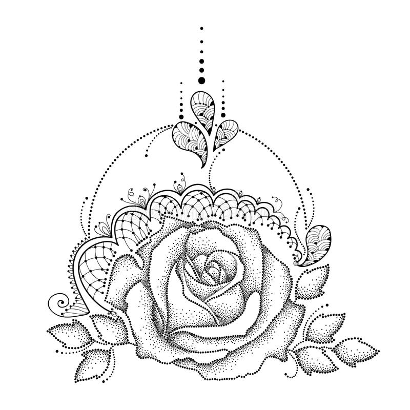 Black Flower Rose From Lace On White Background: Vector Illustration With Dotted Rose Flower In Black