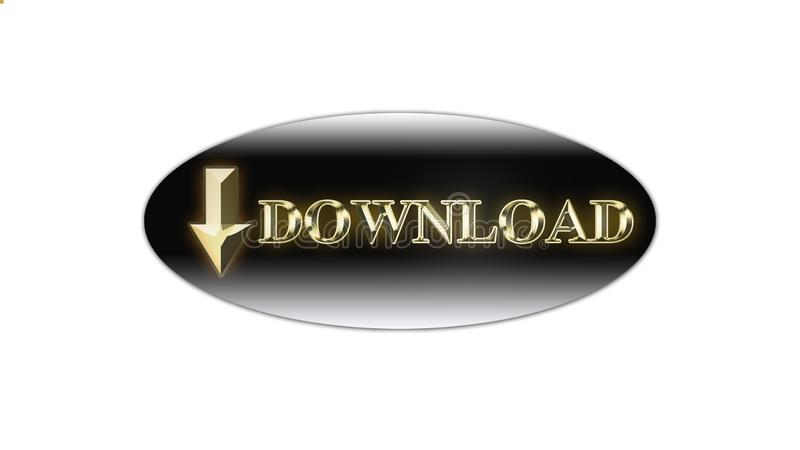 Vector illustration of download Gold Text button on white background royalty free stock photos