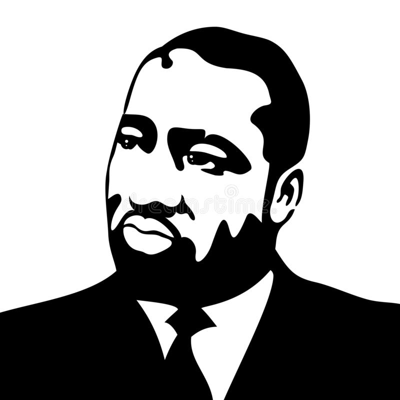 A vector illustration of Dr. Martin Luther King, Jr., in black on a white background stock illustration