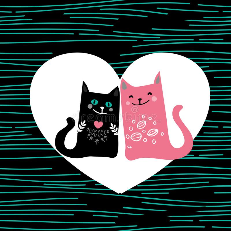Vector illustration draw character design couple love of cat in valentine day and word love vector illustration