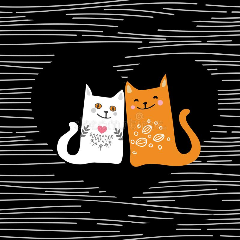 Vector illustration draw character design couple love of cat in valentine day and word love royalty free illustration