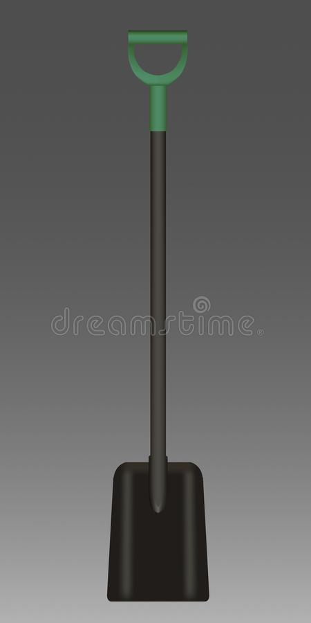 Vector illustration of black Shovel with green Handle stock photography