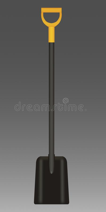 Vector illustration of black Shovel with yellow Handle stock photography