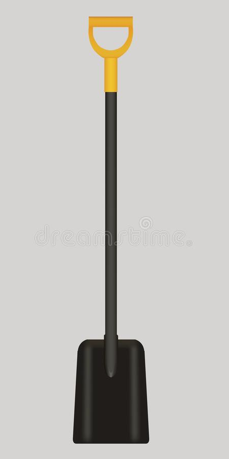 Vector illustration of black shovel with yellow handle royalty free stock photography