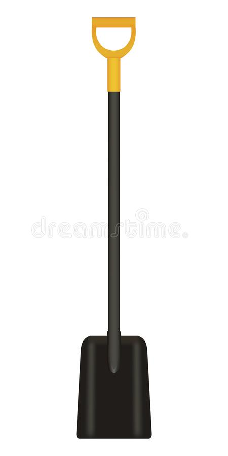 Vector illustration of black Shovel with Yellow Handle stock image