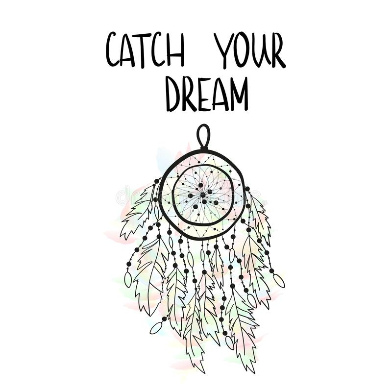 Vector illustration of a dream catcher on a watercolor background with an inscription Catch your dream.  vector illustration