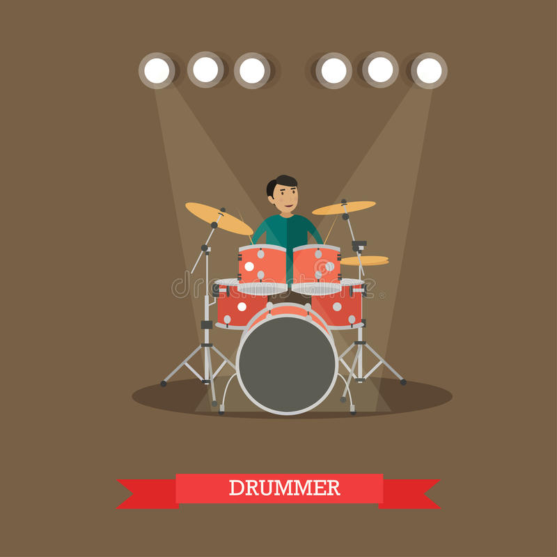 Vector Illustration of drummer playing drums in flat style vector illustration