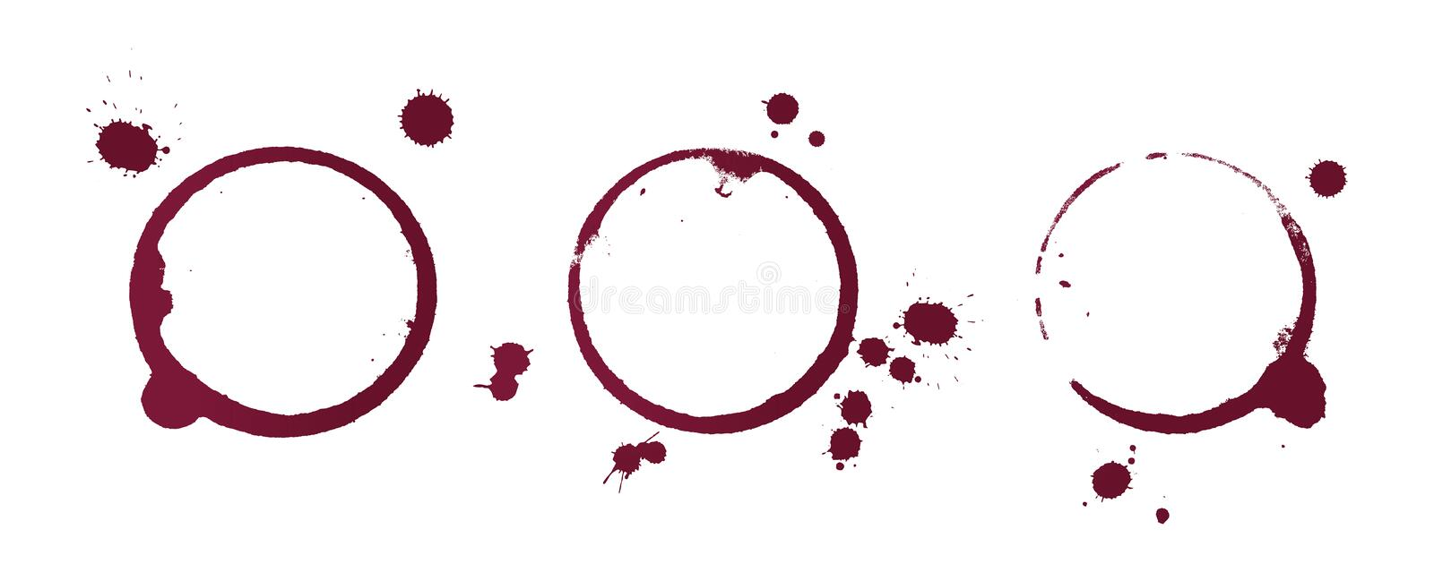 Red wine stain rings isolated on white background stock image