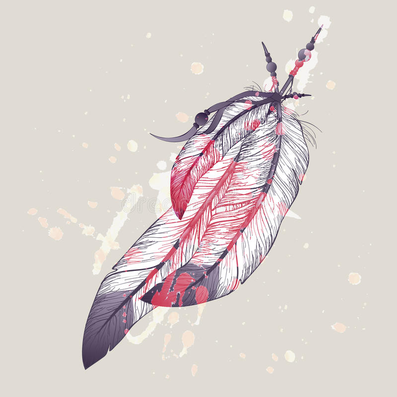 Vector illustration of eagle feathers with watercolor splash vector illustration