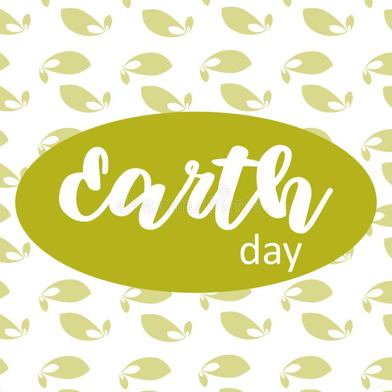 Earth day poster on green leafs background royalty free illustration