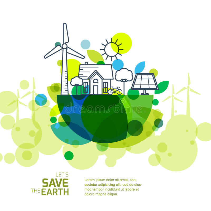 Vector illustration of earth with outline of wind turbine, house, solar battery, bicycle and trees. stock illustration